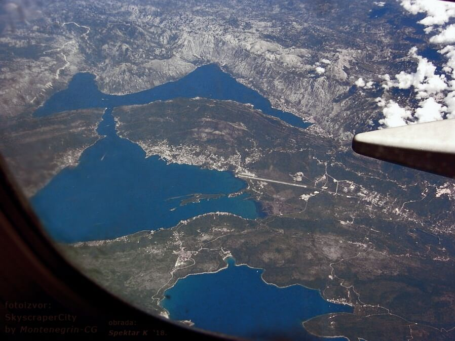 Boka Bay from airplane